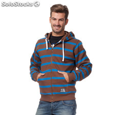 Sudadera con cremallera basic marron rayas azules - the indian face -