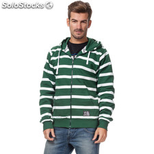Sudadera con cremallera basic verde rayas blancas - the indian face -