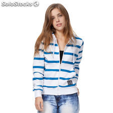 Sudadera con cremallera girl basic blanca rayas azules - the indian face -