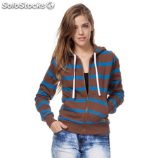Sudadera con cremallera girl basic marron rayas azules - the indian face -