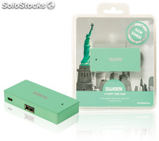 Sweex Concentrador USB de 4 puertos New York en color verde menta, diseño