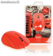 Sweex Ratón USB London color rojo, diseño ergonómico, laterales de caucho, cable