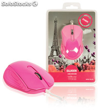 Sweex Ratón USB Paris, color rosa, ergónomico, con laterales de caucho, cable