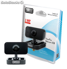 Sweex Webcam USB ViewPlus de color negro, 1600 x 1200 px, con pinza de ajuste