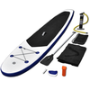 Tabla de Surf de Remo inflable de color azul y blanco con SUP regulable