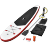 Tabla de Surf de Remo inflable de color rojo y blanco con SUP regulable
