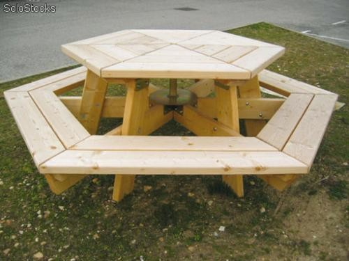 Table banc hexagonale TBHN  Produits France -> Banc De Table Blanc