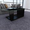 Table basse design simple en verre trempé noire