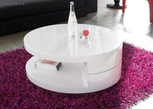 Table basse extensible blanc ou noir laqu circun for Table circulaire extensible