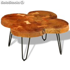 Table basse Table d'appoint en bois massif Sheesham 35 cm 4 troncs
