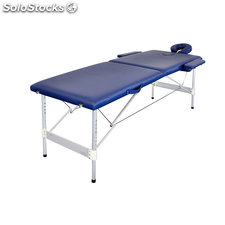 Table de Massage Pliante avec 2 Zones en Alu Bleu