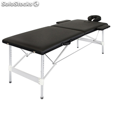 Table de Massage Pliante avec 2 Zones en Alu Noir