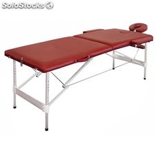 Table de Massage Pliante avec 2 Zones en Alu Rouge