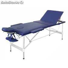 Table de Massage Pliante avec 3 Zones en Alu Bleu