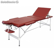 Table de Massage Pliante avec 3 Zones en Alu Rouge
