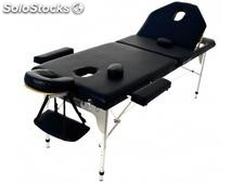 Table de massage pliante en aluminium 194 x 70 cm avec dossier inclinable. Noir