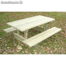 table de pique-nique en bois junior rectangulaire 1,5 m + 2 bancs