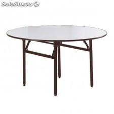 Table ronde pliable 122x76x76 cm blanc inox