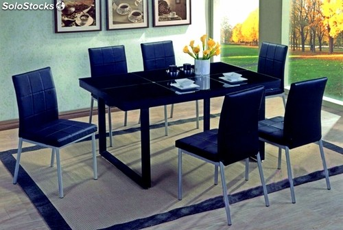 table salle manger avec 6 chaises. Black Bedroom Furniture Sets. Home Design Ideas