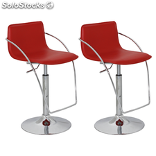 Tabouret design Curve rouge (lot de 2)