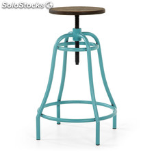 Taburete Bar Vintage Altura Regulable Azul