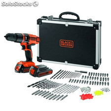 Taladro Perc 18V Litio 2Bat 1,3Ah+ 160 Accesorios+Maletin Black+Decker