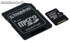 Tarjeta de memoria Micro SD 128 GB Kingston CL10 GEN 2 + Adaptador SD