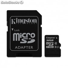Tarjeta microsd hc + adaptador kingston - 32GB - clase 10 - 45MB/s