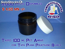 Tarro 100ml pet ambar con tapa plana