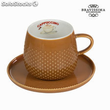 Taza coffee con plato crema - Colección Kitchen's Deco by Bravissima Kitchen