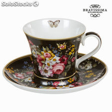 Taza con plato bloom black - Colección Kitchen's Deco by Bravissima Kitchen