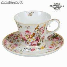 Taza con plato bloom white - colección kitchens deco by bravissima