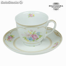 Taza con plato bouquet blanca - Colección Kitchen's Deco by Bravissima Kitchen