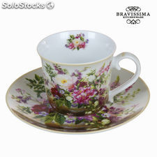 Taza con plato bouquet natural - Colección Kitchen's Deco by Bravissima Kitchen
