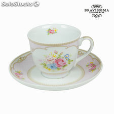 Taza con plato bouquet rosa - Colección Kitchen's Deco by Bravissima Kitchen