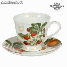 Taza con plato fruits garden - Colección Kitchen's Deco by Bravissima Kitchen