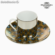 Taza con Plato Magic Porcelana Amarillo Azul - Colección Kitchen's Deco by