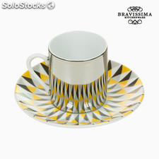 Taza con Plato Magic Porcelana Amarillo Negro - Colección Kitchen's Deco by