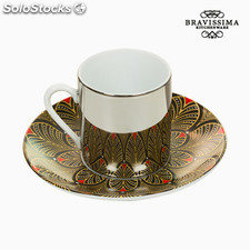 Taza con Plato Magic Porcelana Marrón Rojo - Colección Kitchen's Deco by
