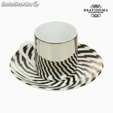 Taza con Plato Magic Porcelana Rayas - Colección Kitchen's Deco by...
