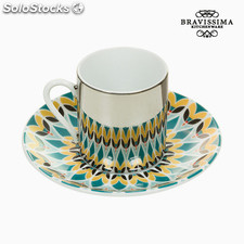 Taza con Plato Magic Porcelana Verde - Colección Kitchen's Deco by Bravissima