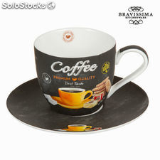 Taza con plato premium - Colección Kitchen's Deco by Bravissima Kitchen