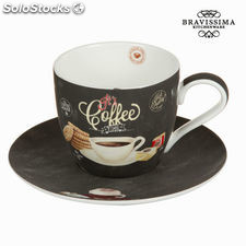Taza con plato time - Colección Kitchen's Deco by Bravissima Kitchen