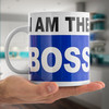 "Taza de cerámica extra grande, tamaño XL ""I am the Boss"", capacidad de 750 ml,"