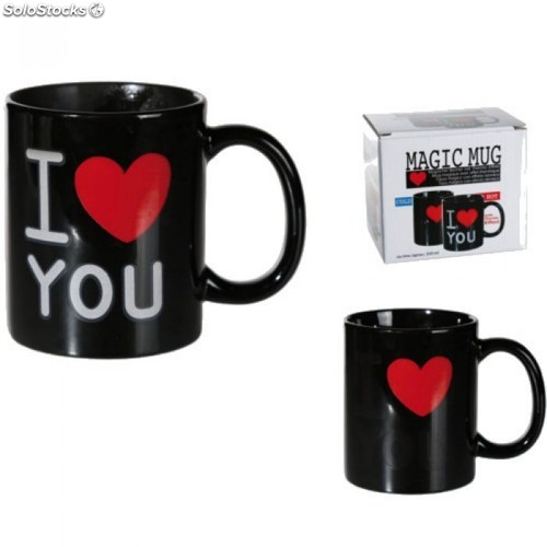 Taza Mágica I Love you Negro