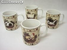 Taza mug recta 340ML animales granja