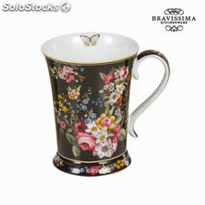 Taza porcelana bloom black - Colección Kitchen's Deco by Bravissima Kitchen