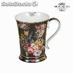 Taza porcelana bloom black - colección kitchens deco by bravissima