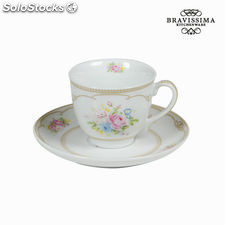 Taza té con plato bouquet - Colección Kitchen's Deco by Bravissima Kitchen