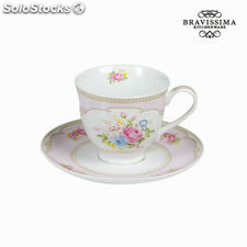 Taza té con plato bouquet rosa - Colección Kitchen's Deco by Bravissima Kitchen